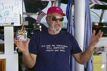 Cetacean researcher, Ken Norris, professor and author celebrates his birthday, Bahamas, Caribbean  -  Flip Nicklin