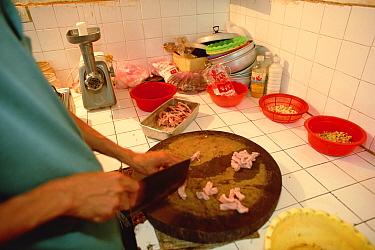 Snake meat is prepared for cooking in restaurant, Hanoi, Vietnam  -  Mark Moffett
