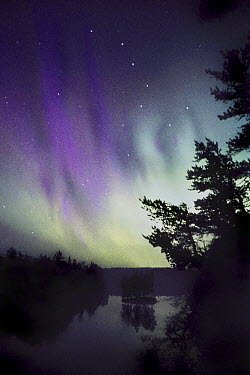 The Big Dipper and aurora borealis over Discovery Lake, Boundary Water Canoe Area Wilderness, Minnesota  -  Jim Brandenburg