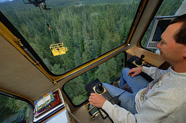 Researchers piloting crane and gondola over temperate rainforest canopy, Wind River, Washington  -  Mark Moffett