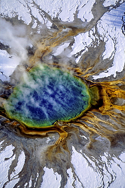 Aerial view of Grand Prismatic Pool in winter, Midway Geyser Basin, Yellowstone National Park, Wyoming