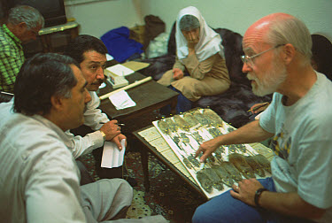 Jim Patton showing important university members his specimens at the agricultural station guest house, Kerman, Iran  -  Mark Moffett