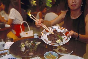 Dwarf Minke Whale (Balaenoptera acutorostrata) meat entree, Moon Garden Restaurant, Tokyo, Japan