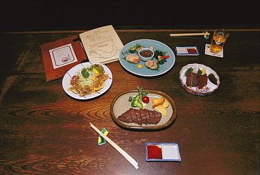 Dwarf Minke Whale (Balaenoptera acutorostrata) meat snack in Tokyo restaurant, Japan