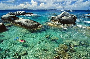 Snorkeler Deanna Mah at The Baths, British Virgin Islands  -  Norbert Wu