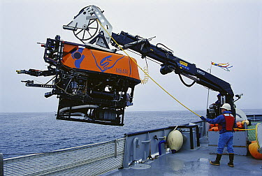 Rov Ventana submersible is lowered by crane from MBARI ship, Point Lobos, Monterey Bay, California  -  Norbert Wu