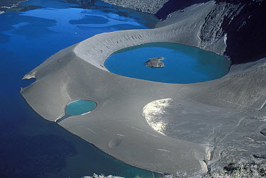 Cerro Azul caldera with lake and tufa cone at 5,900 feet, Cerro Azul Volcano, Isabella Island, Galapagos Islands, Ecuador  -  Tui De Roy