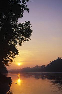 Sunrise over lower reaches of the Tambopata River, Tambopata-Candamo Reserved Zone, Amazon Basin, Peru  -  Tui De Roy