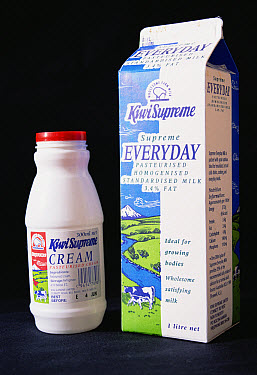 Milk and cream containers with the Kiwi featured on their labels, New Zealand  -  Tui De Roy