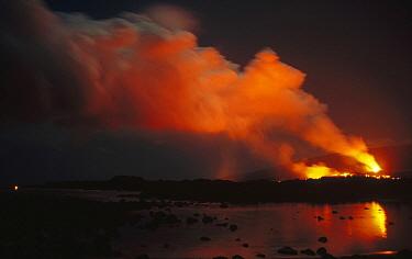 Volcanic eruption reflected in tide pool, Ursa Major visible in night sky, February 1988, Cape Hammond, Fernandina Island, Galapagos Islands, Ecuador  -  Tui De Roy