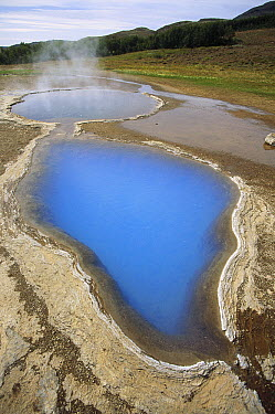 Geothermal activity, steaming mineral hot springs shaped like the Americas, Geyser Thermal Field, Iceland  -  Tui De Roy