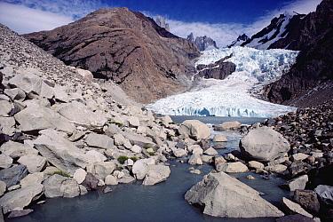 Glacier tumbling down from granite peaks, Los Glaciares National Park, Patagonia, Argentina  -  Tui De Roy