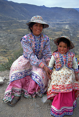 Collagua woman and daughter in traditional everyday dress, Colca Canyon, Southern Andes, Peru  -  Tui De Roy