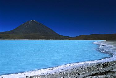 Arsenic-laden Laguna Verde at 4,400 meters elevation with 5,868 meter Licancabur Volcano in background, Eduardo Avaroa Faunistic Reserve, altiplano, Bolivia  -  Tui De Roy