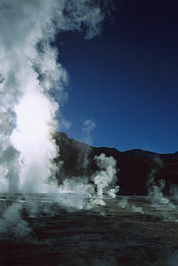 Geysers in extensive geothermal field in Andean foothills, Atacama Desert, Andes Mountains, Chile  -  Tui De Roy