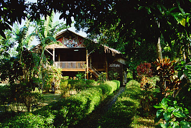 One of the guest lodges at Nusantara Dive Center at Molas Beach, Manado, North Sulawesi, Indonesia  -  Fred Bavendam