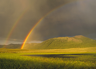 Double rainbow over Boulder Mountains after a storm, Idaho