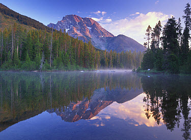 Mt Moran reflected in String Lake, Grand Teton National Park, Wyoming  -  Tim Fitzharris
