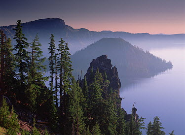 Wizard Island in the center of Crater Lake, lake fills a 6-mile wide caldera created by the eruption and collapse of Mt Mazama 7,000 years ago, Crater Lake National Park, Oregon  -  Tim Fitzharris