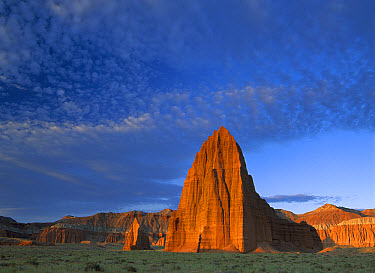 Temples of the Sun and Moon in Cathedral Valley, the monolith is made of entrada sandstone, Capitol Reef National Park, Utah  -  Tim Fitzharris