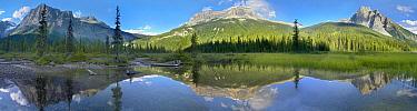 Panoramic view of Mt Burgess reflected in Emerald Lake, Yoho National Park, British Columbia, Canada  -  Tim Fitzharris