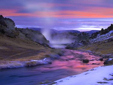Hot Creek at sunset, natural hot spring in Mammoth Lakes region, eastern Sierra Nevada, California  -  Tim Fitzharris