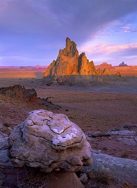 Church Rock, eroded volcanic plug 300 feet tall on Navajo reservation, Monument Valley, Arizona  -  Tim Fitzharris