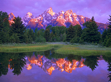 Grand Teton Range and cloudy sky at Schwabacher Landing, Grand Teton National Park, Wyoming  -  Tim Fitzharris
