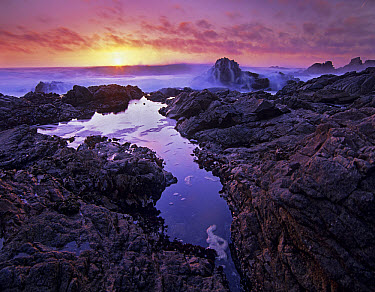 Sunset over crashing waves and tidepools, Garrapata State Beach, Big Sur, California  -  Tim Fitzharris