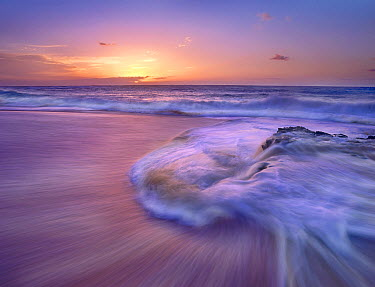 Sandy beach at sunset, Oahu, Hawaii  -  Tim Fitzharris