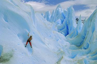 Ice climber on Perito Moreno Glacier, Los Glaciares National Park, Argentina