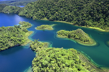 Islands at southeast end of Lake Kutubu in highlands, Papua New Guinea