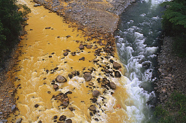 Rio Sucio laden with naturally occurring iron and sulfur deposits, Braulio Carrillo National Park, Costa Rica  -  Gerry Ellis
