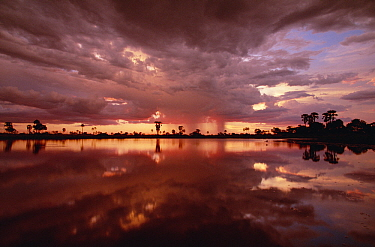 Sunset and storm clouds over watering hole in Kwando River flood plain, Linyanti Swamp, Okavango Delta, Botswana