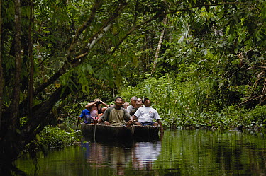 Tourists in dugout canoe in blackwater stream, Yasuni National Park Biosphere Reserve, Amazon rainforest, Ecuador  -  Pete Oxford