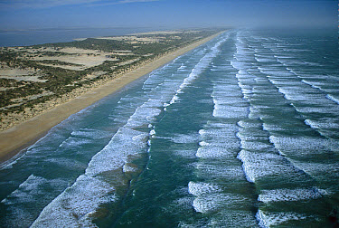 Aerial view of the meeting of ocean and land on Younghusband Peninsula, Coorong National Park, South Australia  -  Jean-Marc La Roque/ Auscape
