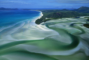 Aerial view of Tongue Point, Hill Inlet and Whitehaven beach, Whitsunday group, Great Barrier Reef Marine Park, Queensland, Australia  -  Jean-Paul Ferrero/ Auscape