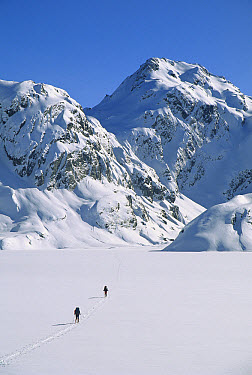 Skiers cross frozen surface of Lake Harris along the Routeburn Track in winter, Mt Aspiring National Park, New Zealand  -  Colin Monteath/ Hedgehog House