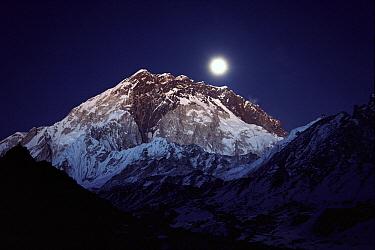 Moon over Nuptse from Lobuche, Khumbu region, Nepal  -  Colin Monteath/ Hedgehog House