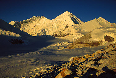 Dawn light on Lhotse, the South Col and Kangshung face Mt. Everest, as seen from 6,200 meters elevation at Kharta Glacier, Tibet  -  Colin Monteath/ Hedgehog House