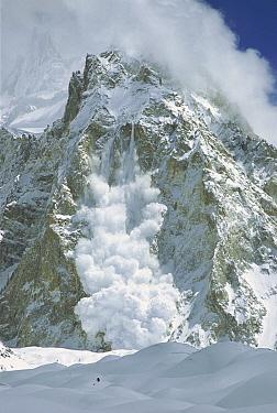 Powder snow avalanche falling from Gasherbrum, Baltoro Glacier, Karakoram Mountains, Pakistan  -  Colin Monteath/ Hedgehog House