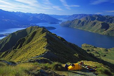 Mt Roy, campsite above Lake Wanaka, autumn, Central Otago, New Zealand  -  Colin Monteath/ Hedgehog House