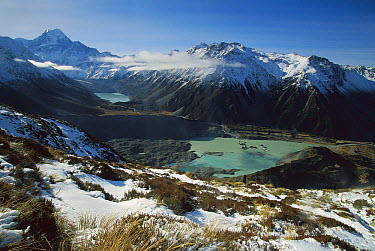Mueller Glacier terminal lake, Mt. Cook, also called Aoraki at left, Mt. Cook National Park, New Zealand  -  Colin Monteath/ Hedgehog House