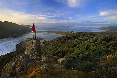 Hiker above the gutter, from headland above Mason Bay, Rakiura National Park, Stewart Island, New Zealand  -  Colin Monteath/ Hedgehog House