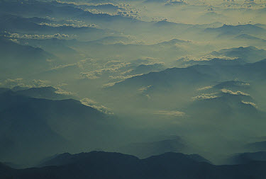Air pollution over India, aerial view of Indian foothills, Ladakh, northwest India  -  Colin Monteath/ Hedgehog House