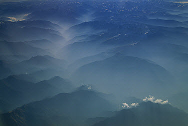 Pollution over India, aerial view of Indian foothills, Ladakh, northwest India  -  Colin Monteath/ Hedgehog House