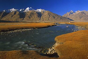 Zanskar River, Padum Village behind Kingdom of Zanskar, northwest India  -  Colin Monteath/ Hedgehog House