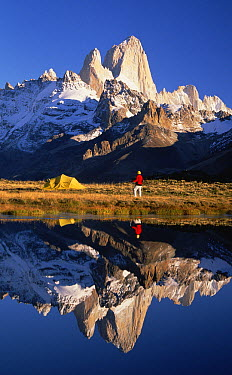 Trekkers camp under Mount Fitzroy, Los Glaciares National Park, Patagonia, Argentina  -  Colin Monteath/ Hedgehog House