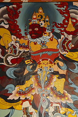 Guardians of Gompa entrance, Rumtek Monastery, near Gangtok, Sikkim Himalaya, India  -  Colin Monteath/ Hedgehog House