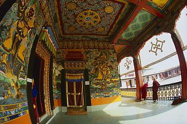 Rumtek Monastery, monk's center for Black Hat Buddhists, near Gangtok, Sikkim Himalaya  -  Colin Monteath/ Hedgehog House